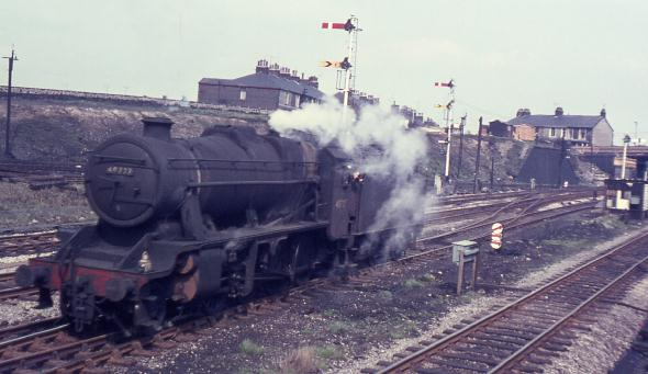 Steam finally died in 1968 in North West England. This picture is of 8F freight 2-8-0 no. 48727 at Rose Grove in April 1968.
