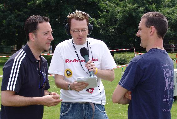 Paul Swann broadcasting during Redstone.fm's first live outside broadcast from Redhill's Memorial Park.
