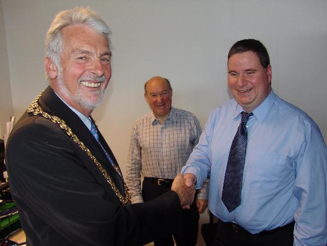 The Mayor, Cllr Richard Mantle with Redstone FM's Steve Burge at the launch of the 2009 Mayor's Award Scheme. June 2009.