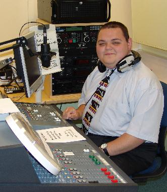 Terry Turner during the first Breakfast Show on Redstone FM - 5 July 2005.